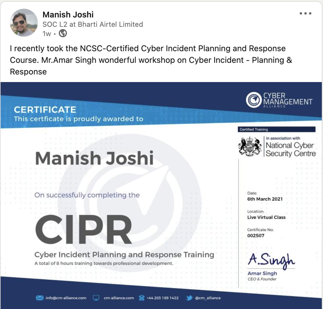 Manish Joshi CIPR comment