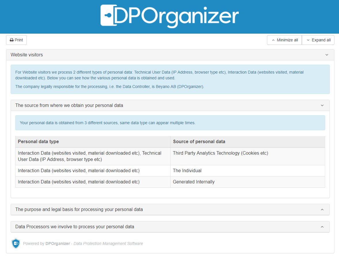 DPOrganizer Transparency Widget Report